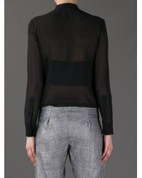 Saint Laurent - Black Sheer Pussy Bow Blouse - Lyst
