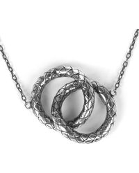 Bottega Veneta - Metallic Woven Knot Necklace - Lyst
