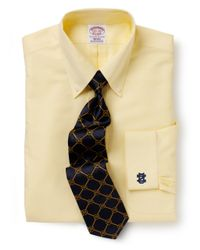 Brooks Brothers | Yellow University Of Notre Dame All-cotton Non-iron Brookscool® Regular Fit Dress Shirt for Men | Lyst