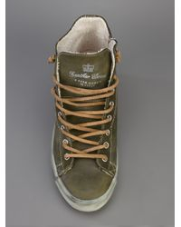 Leather Crown - Orange Studded Hitop Trainer - Lyst