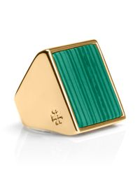 Tory Burch - Green Flat Stone Ring - Lyst