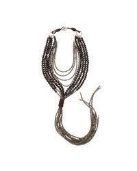 Brunello Cucinelli - Black Agate Quartz Tassel Necklace - Lyst