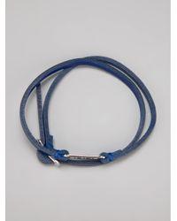 McQ - Blue Leather Razor Bracelet - Lyst