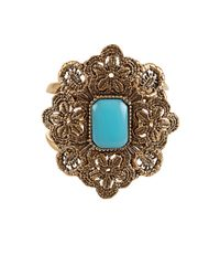 Oscar de la Renta - Metallic Large Medallion Stone Bracelet - Lyst