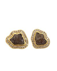 Todd Reed - Metallic Raw Yellow Gold Diamond Stud Earrings - Lyst