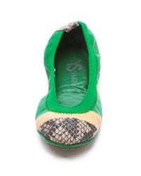 Yosi Samra | Green Horizontal Colorblock Ballet Flats | Lyst
