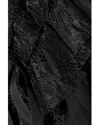 Alberta Ferretti | Black Ruffled Lace trimmed Silk chiffon Top | Lyst