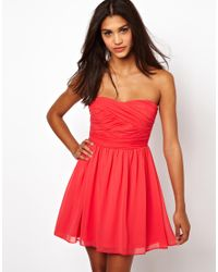 ASOS | Red Soft Bandeau Skater Dress | Lyst