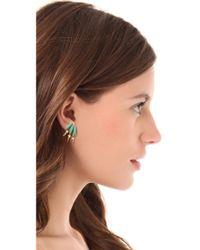 Elizabeth Cole - Green Petite Mohawk Earrings - Lyst