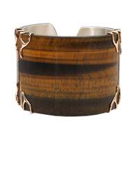 Federica Rettore | Brown Tigers Eye Cuff Bracelet | Lyst