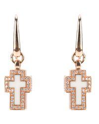 Gavello | White Cross Diamante Earrings | Lyst