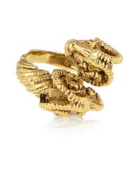 Mallarino | Metallic Double Ram Goldplated Ring | Lyst