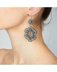 Miguel Ases - Blue Goldstone Chandelier Earrings - Lyst