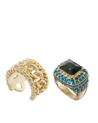 ASOS | Blue Vintage Style Cocktail Ring Chain Link Band Pack | Lyst