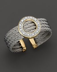 Charriol - Metallic Round Ring with Diamonds in 18 Kt Yellow Gold and Stainless Steel - Lyst