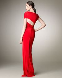 Donna Karan - Red Wrapped Jersey Gown - Lyst