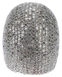 Ebba Brahe | Metallic Diamond Encrusted Dome Ring | Lyst