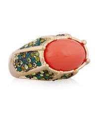 Kenneth Jay Lane - Red Goldplated Crystal and Cabochon Ring - Lyst