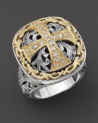 Konstantino - Metallic Sterling Silver And 18 K Gold Diamond Maltese Cross Ring - Lyst