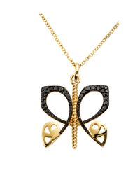 Biba - Gold And Black Diamond Butterfly Pendant - Lyst