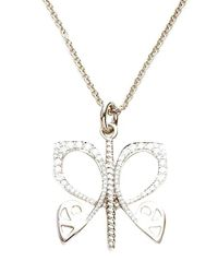 Biba | Metallic White Gold And Diamond Butterfly Pendant | Lyst