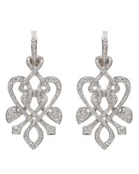 Biba | Metallic White Gold And Diamond Heart Twist Drop Earrings | Lyst