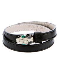 BVLGARI - Black Snakes Head Strap Bracelet - Lyst