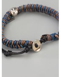 Chan Luu - Blue Leather Skull Bracelet for Men - Lyst