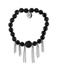 Dyrberg/Kern | Kajsab Shiny Silver Black Bracelet | Lyst