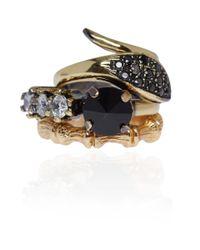 Iosselliani - Metallic Black Swarovski Crystal Stacking Rings - Lyst