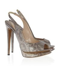 Nicholas Kirkwood | Metallic Leather Peeptoe Pumps | Lyst