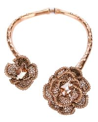 Oscar de la Renta - Pink Embellished Rose Necklace - Lyst