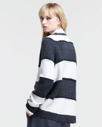 Brunello Cucinelli - White Sequined Striped Pullover Sweater - Lyst