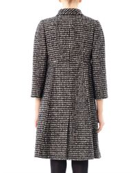 Dolce & Gabbana | Black Check Tweed Swing Coat | Lyst