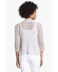 Eileen Fisher | White Shimmer Crop Cardigan | Lyst