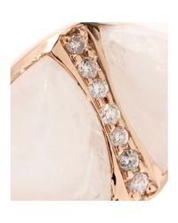 Jacquie Aiche | Pink 14kt Rose Gold Double Triangle Moonstone Bezel Ring with White Pavé Diamonds | Lyst