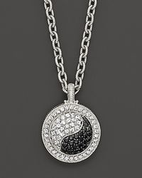 Judith Ripka | Metallic Sterling Silver Ying Yang Pendant Necklace with White and Black Sapphires 17 | Lyst