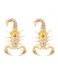 Libertine | Metallic Yellow Gold Swarovski Crystal Scorpion Earrings | Lyst