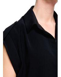Mango - Black Ribbed Jersey Dress - Lyst