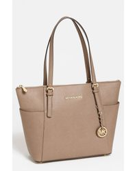 MICHAEL Michael Kors | Natural Jet Set Leather Tote | Lyst