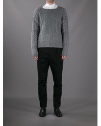 Saint Laurent - Gray Cable Knit Sweater for Men - Lyst