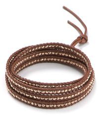 Chan Luu - Brown Five Wrap Leather Bracelet with Rose Gold Beads - Lyst