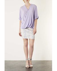 TOPSHOP - Purple Casual Drape Top - Lyst