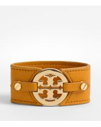 Tory Burch | Brown Logo Wide Double Snap Cuff | Lyst