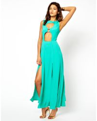 ASOS - Green Maxi Dress with Cut Out and Front Split - Lyst