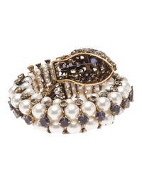 Iradj Moini White Embellished Snake Cuff