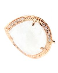 Jacquie Aiche | Pink 14kt Rose Gold Small Teardrop Moonstone Bezel Cuff Bracelet With White Diamonds | Lyst