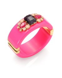 kate spade new york - Pink In The Mood Faceted Wide Bangle Bracelet - Lyst