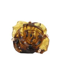 Lucifer Vir Honestus | Metallic Carved Amber Flower Ring | Lyst