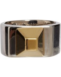 Saint Laurent - Metallic Silver Gold Pyramid Stud Ring - Lyst